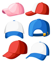 Baseball cap. Collection of various caps. Blue, white, pink and red colors. Summer hats for children and adults. Cartoon style design. Vector illustration isolated on white background