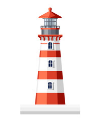 Lighthouse building. Flat design style. Vector illustration isolated on white background