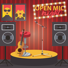Scene with open mic, guitar, microphone and audio speakers. Square composition of club interior
