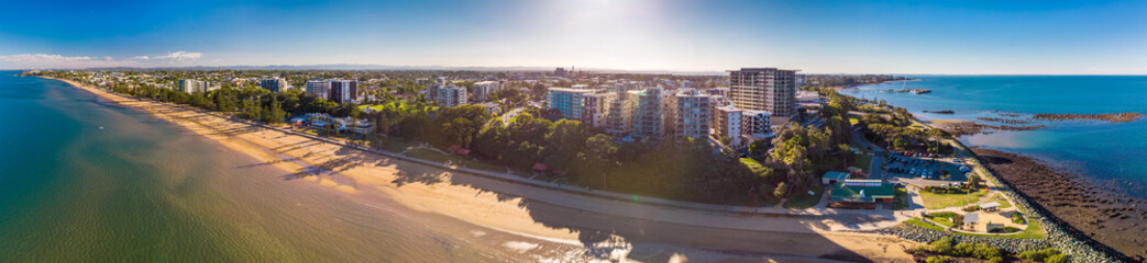BRISBANE, AUS - MAY 13 2018: Panoramic aerial image of Sutton Beach area, taken by the drone.