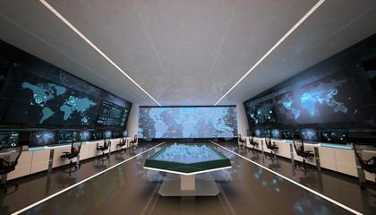 Command center, control room, futuristic design, smart cities, data center, cryptocurrency