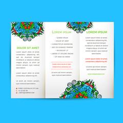 Vector Flyer oriental design Layout template, size A5. Islam, Arabic, Indian, ottoman motifs.