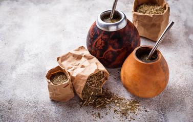 Yerba mate tea with calabash and bombilla