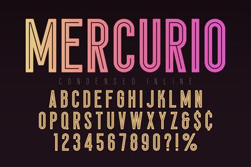Mercurio inline font, typeface, alphabet. Condensed original typeset