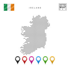 Vector Dotted Map of Ireland. Simple Silhouette of Ireland. National Flag of Ireland. Set of Multicolored Map Markers