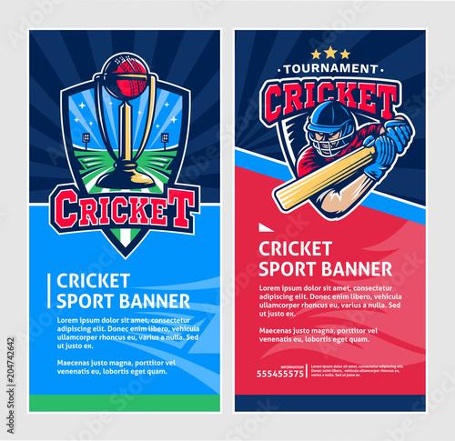 cricket sport vertical banners vector design template stock image