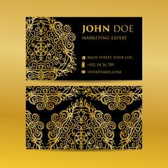 Business card set golden mandala decorative elements. Vintage decorative elements. Islam, Arabic, Indian, moroccan,spain, turkish, pakistan, motifs.
