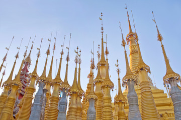 Ancient Shwe Inn Thein Pagoda Complex on Inle lake in in Shan State, Myanmar