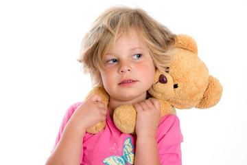little sweet girl with teddy bear