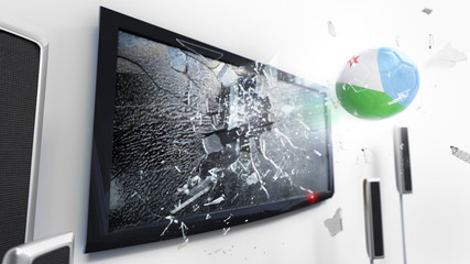 Soccer ball with the flag of Djibouti kicked through a shattering tv screen.(3D rendering series)