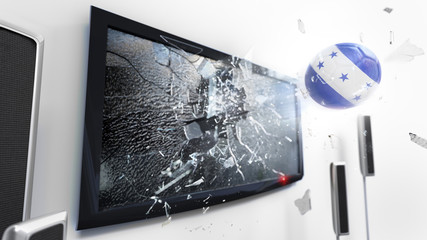 Soccer ball with the flag of Honduras kicked through a shattering tv screen.(3D rendering series)