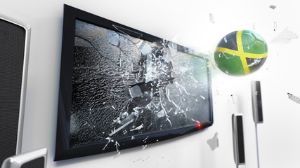 Soccer ball with the flag of Jamaica kicked through a shattering tv screen.(3D rendering series)