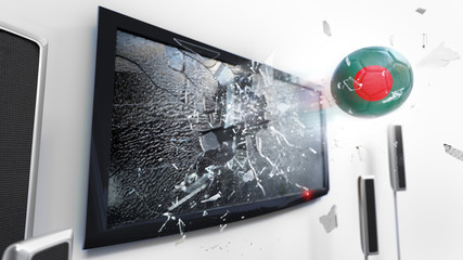 Soccer ball with the flag of Bangladesh kicked through a shattering tv screen.(3D rendering series)