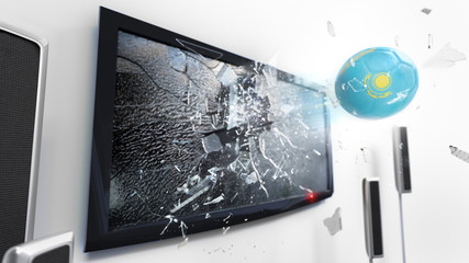 Soccer ball with the flag of Kazakhstan kicked through a shattering tv screen.(3D rendering series)