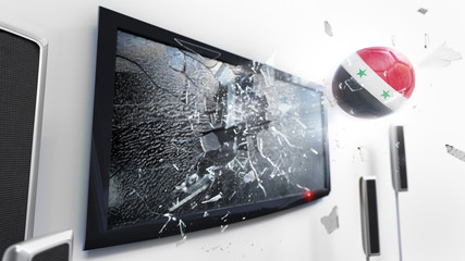 Soccer ball with the flag of Syria kicked through a shattering tv screen.(3D rendering series)