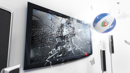 Soccer ball with the flag of Northwest Territories kicked through a shattering tv screen.(3D rendering series)
