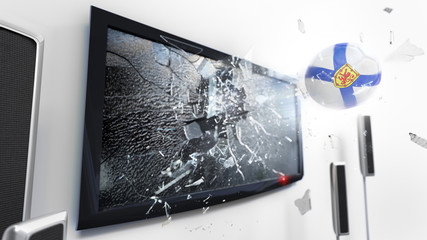 Soccer ball with the flag of Nova Scotia kicked through a shattering tv screen.(3D rendering series)