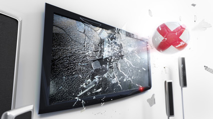 Soccer ball with the flag of England kicked through a shattering tv screen.(3D rendering series)