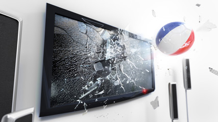 Soccer ball with the flag of France kicked through a shattering tv screen.(3D rendering series)