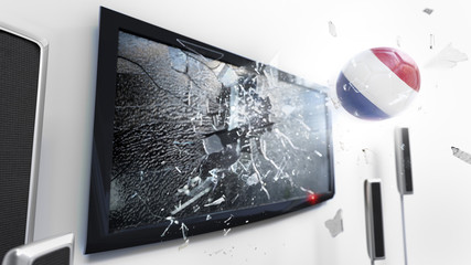 Soccer ball with the flag of Netherlands kicked through a shattering tv screen.(3D rendering series)