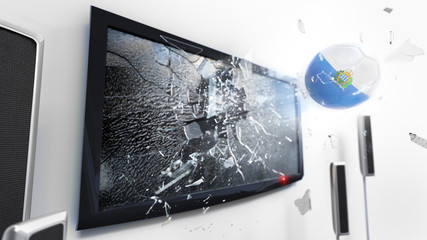 Soccer ball with the flag of San Marino kicked through a shattering tv screen.(3D rendering series)