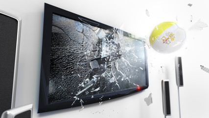 Soccer ball with the flag of Vatican City kicked through a shattering tv screen.(3D rendering series)