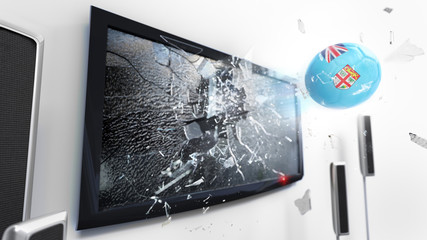 Soccer ball with the flag of Fiji kicked through a shattering tv screen.(3D rendering series)