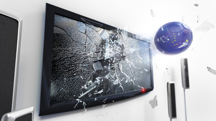 Soccer ball with the flag of Alaska kicked through a shattering tv screen.(3D rendering series)
