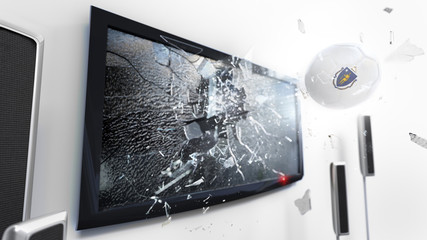 Soccer ball with the flag of Massachusetts kicked through a shattering tv screen.(3D rendering series)