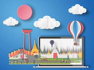 Paper art Bangkok,Thailand infographic . Thailand cityscape with labtop .