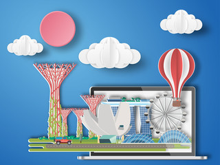 Paper art singapore infographic . singapore cityscape with labtop .