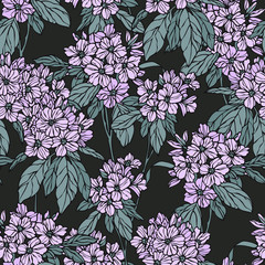 Floral seamless pattern. Flower background. Flourish ornamental summer wallpaper with flowers hydrangea.