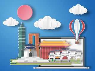Paper art Taiwan infographic . Taiwan cityscape with labtop .