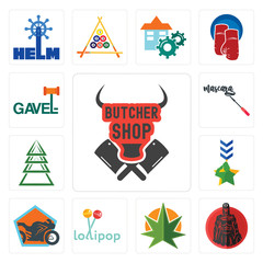 Set of butcher shop, spartan, weed leaf, lollipop, motorcycle military, ever tree, mascara, gavel icons