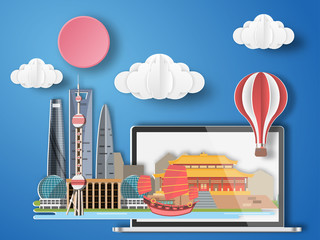 Paper art Shanghai ,China infographic . China cityscape with labtop .