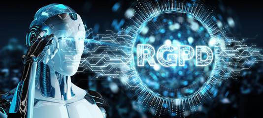 White cyborg using digital GDPR interface 3D rendering
