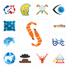 Set of shrimp, three triangle, deer head, happy thanksgiving, polar, bike club, , waffle, pillow icons