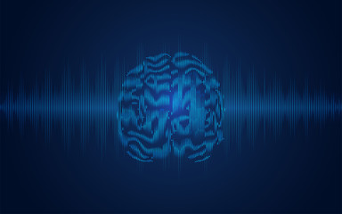 graphic of dotted brain combined with wave form pattern, concept of electrocardiogram technology