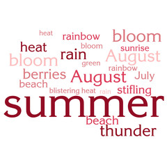 cloud of words list about summer season