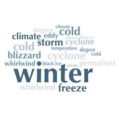 cloud of words list about winter season