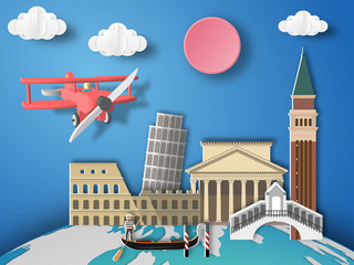 Paper art Italy infographic . Airplane flying to Italy.