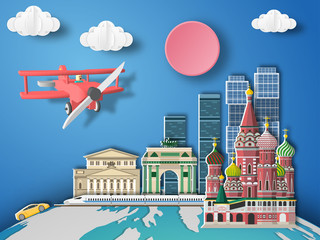 Paper art Moscow ,Russia infographic . Airplane flying to Russia.