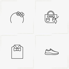 Fashion line icon set with hair band , lady bag and shirt with bow tie