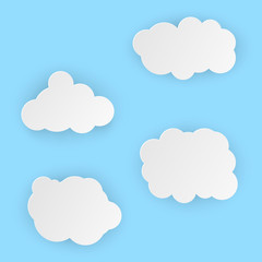 Vector illustration, white simple clouds in papercut style with transparent shadows isolated on blue background