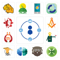 Set of tidy, extend, free owl, brain, hoopoe, tour guide, chili cook off, masonic, spartan icons