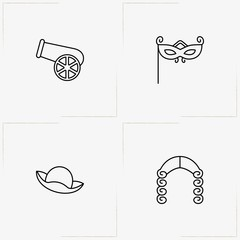 Carnival line icon set with cannon , carnival lady mask  and periwig