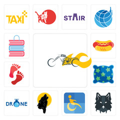 Set of chopper, wolf face, disability, black wolf, , pillow, foot print, hot dog, book shop icons