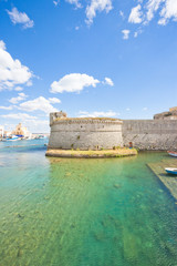 Gallipoli, Apulia - View across the turquoise water towards the middle aged stronghold
