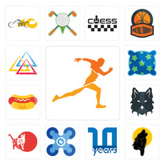 Set of running club, black wolf, 10 year, drones, cat, wolf face, hot dog, pillow, three triangle icons