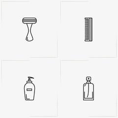 Bathroom line icon set with perfume, comb and liquid soap